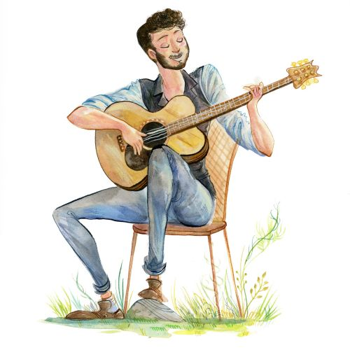 Wedding guitar player illustration