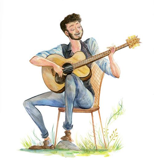 Wedding guitar player illustration