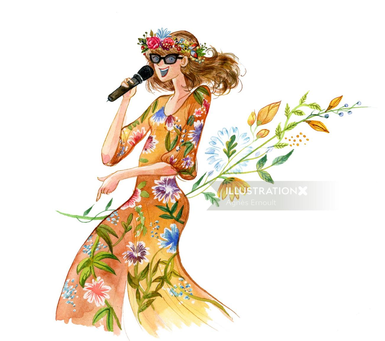 Fashion illustration of female wedding singer floral dress