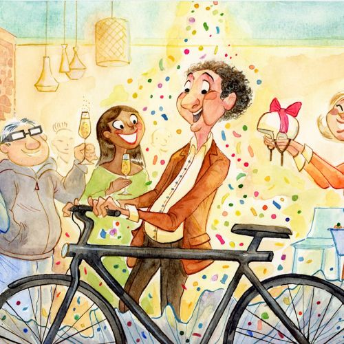 Character design of Michel's leaving-do for BFM Business TV