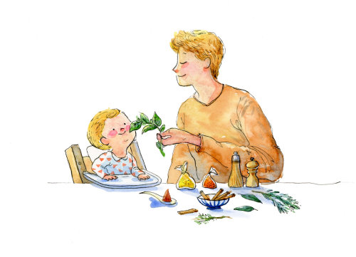 Character design of father feeding vegetable to baby boy