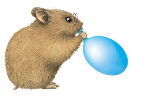 Animation of Hamster blowing balloon