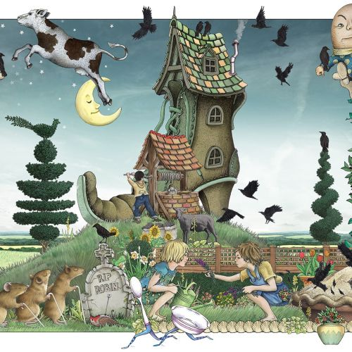 Fantasy illustration of witch house, animals & children