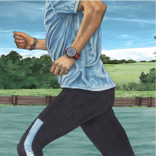 Running man with fitbit for canal magazine