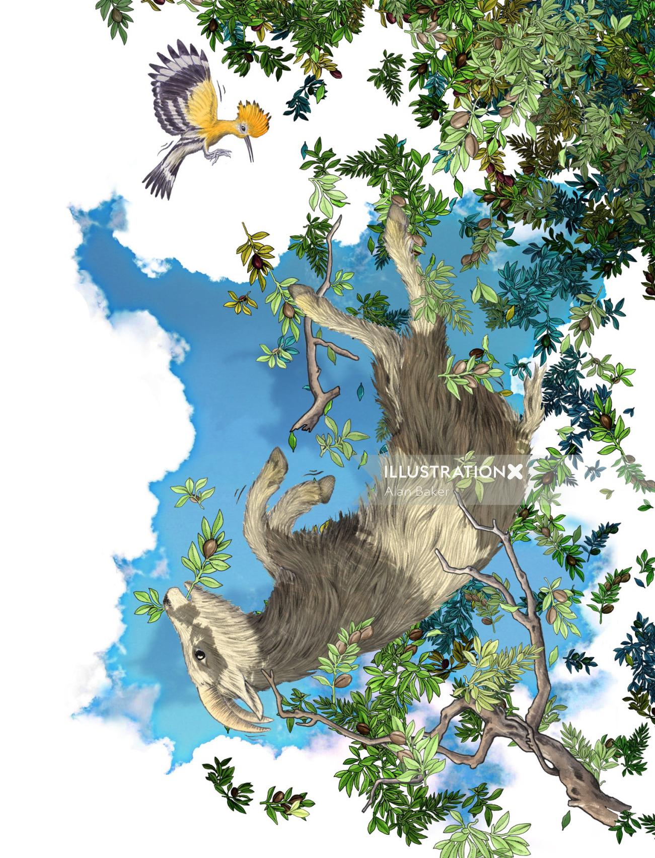 Goat falling from tree illustration by Alan Baker