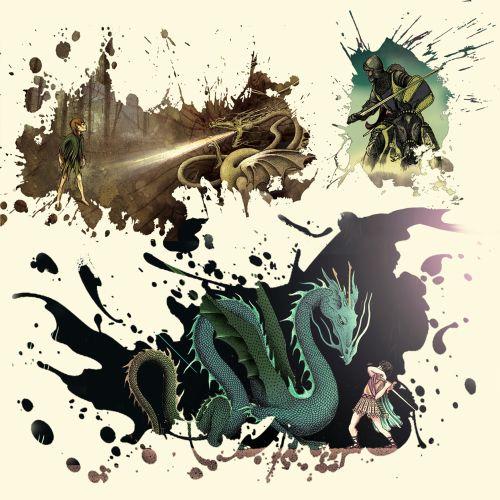 Dragon slaying illustration by Alan Baker