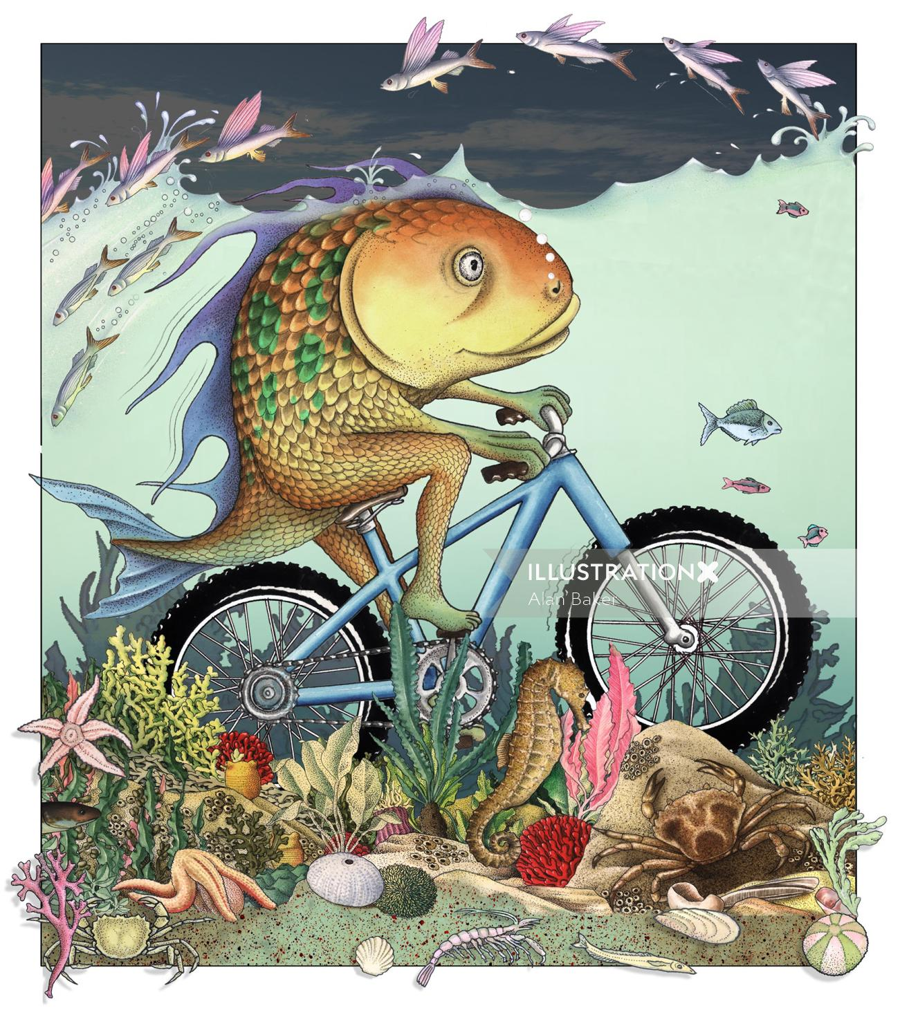 Fish on a bicycle for children's book by Alan Baker