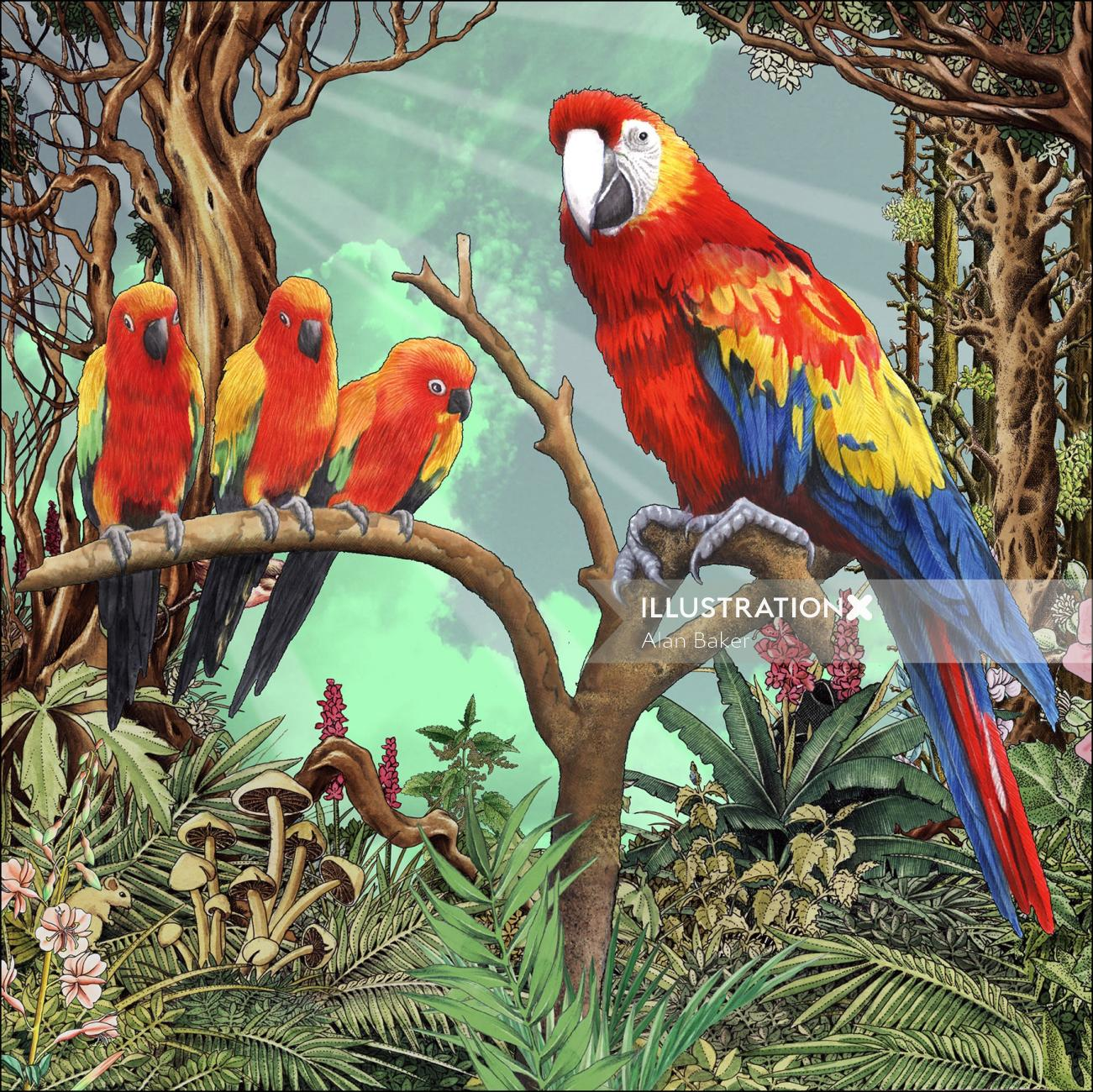 parrots in a fantasy forest