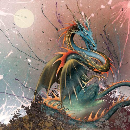 Dragon on a hill illustration by Alan Baker