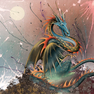 Dragon on a hill illustration by Alan Baker