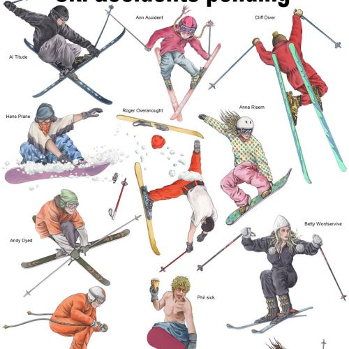 Skiers illustration by Alan Baker
