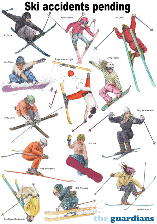 Illustration de skieurs par Alan Baker