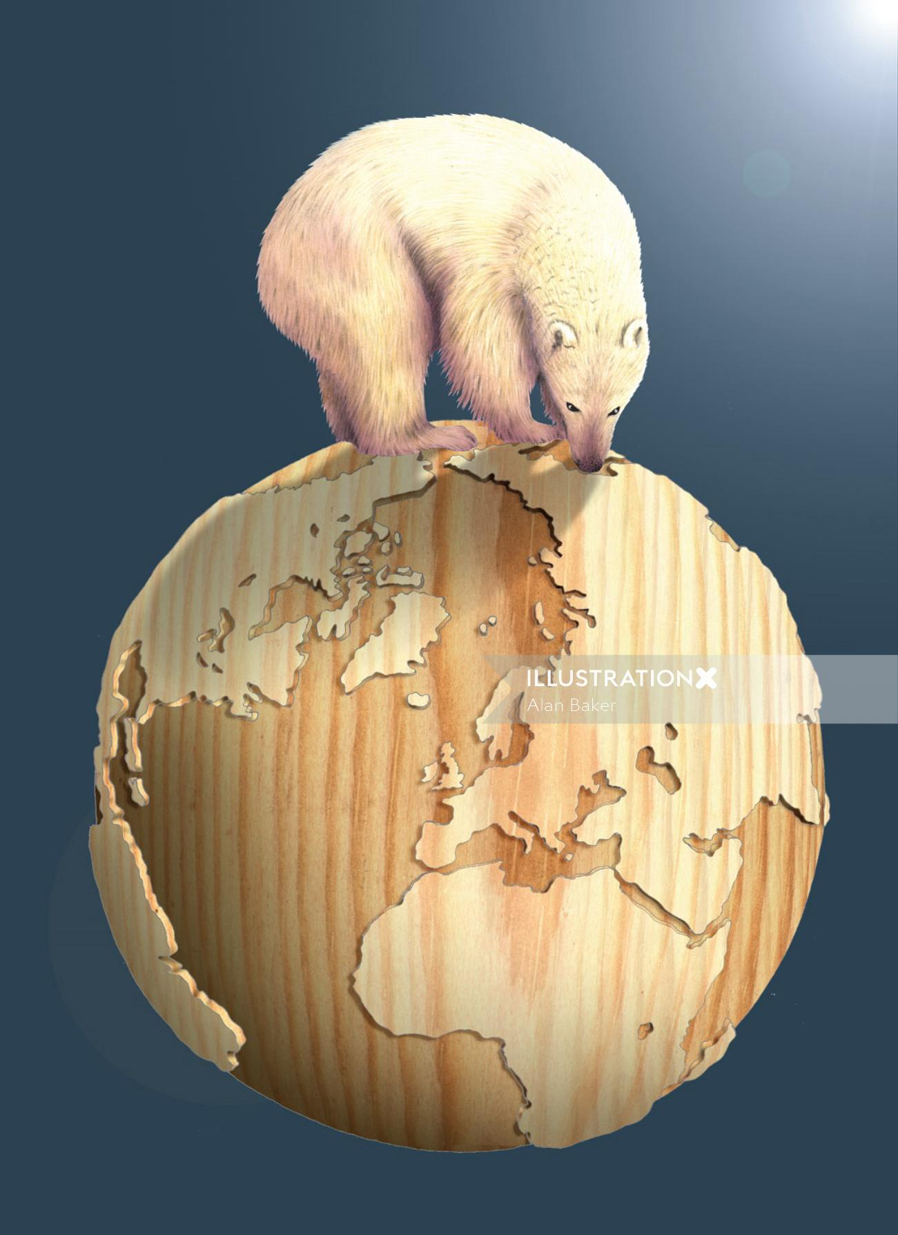 Polar bear on wooden globe - An illustration by Alan Baker