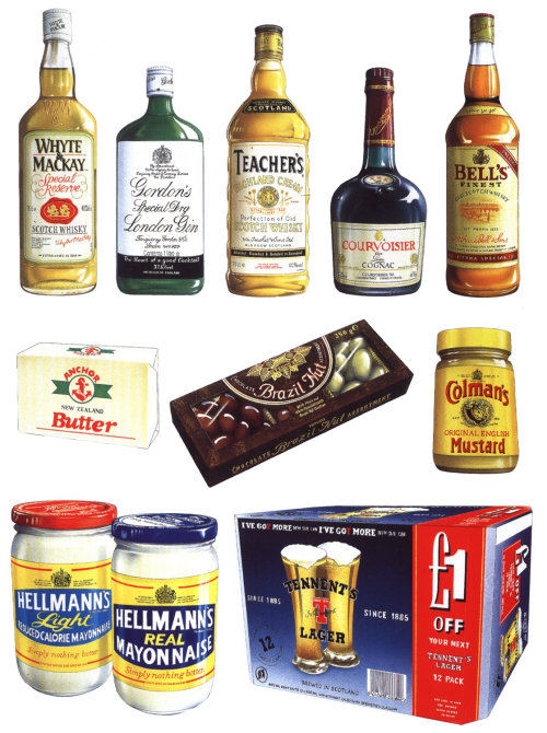 Illustration de whisky, chocolat, moutarde par Alan Baker
