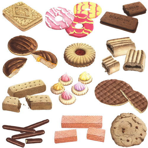Illustration of biscuits  by Alan Baker