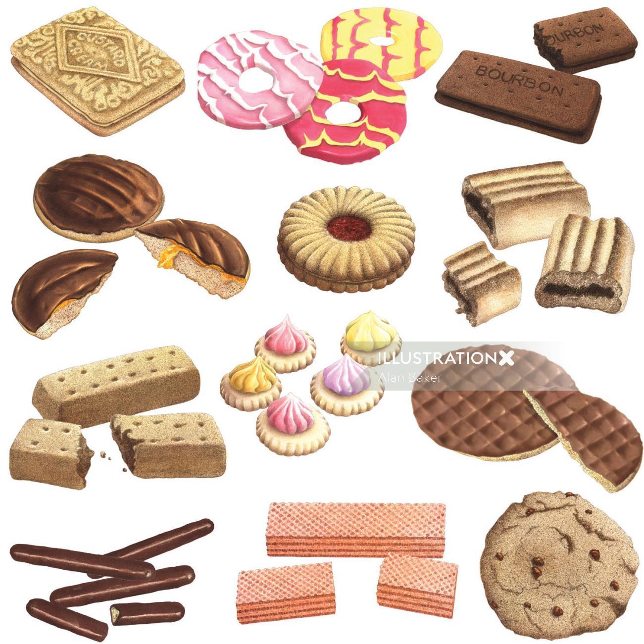 Illustration of biscuits  by Alan Baker