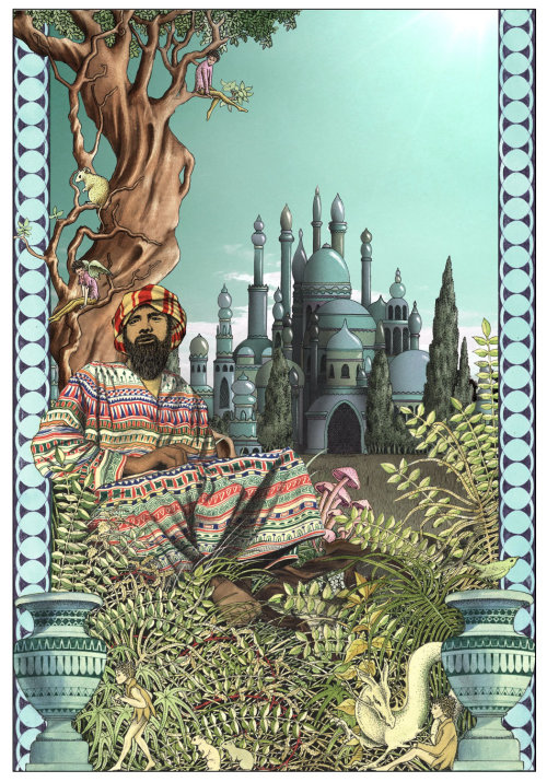 Middle east man and palace illustration by Alan Baker