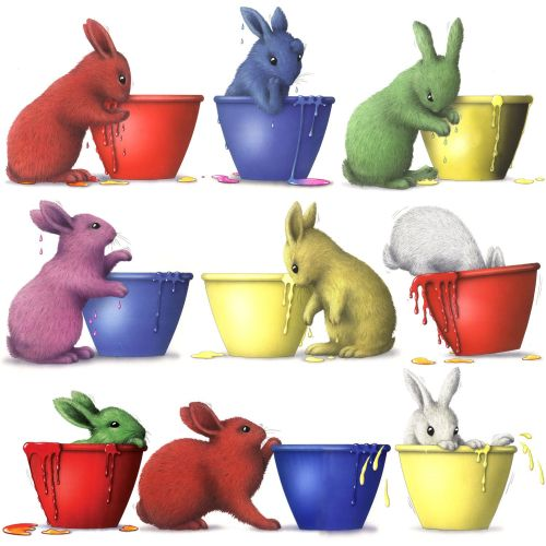 illustration of rabbits in paint pots