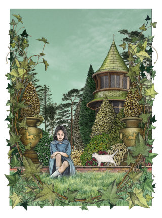 Girl in the garden illustration by alan Baker