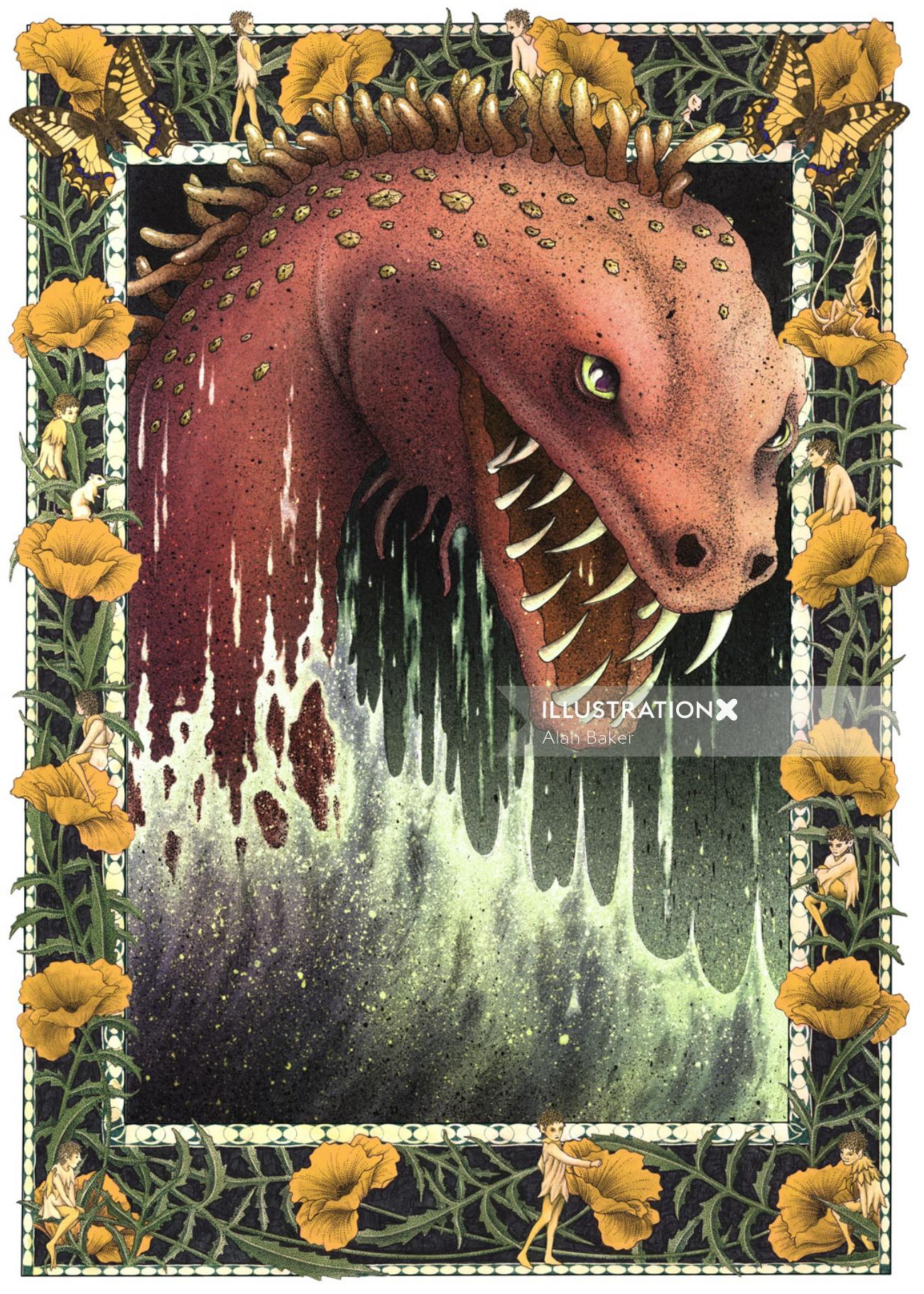 Sea monster illustration Alan Baker