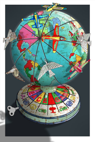 Illustration of aeroplanes on globe