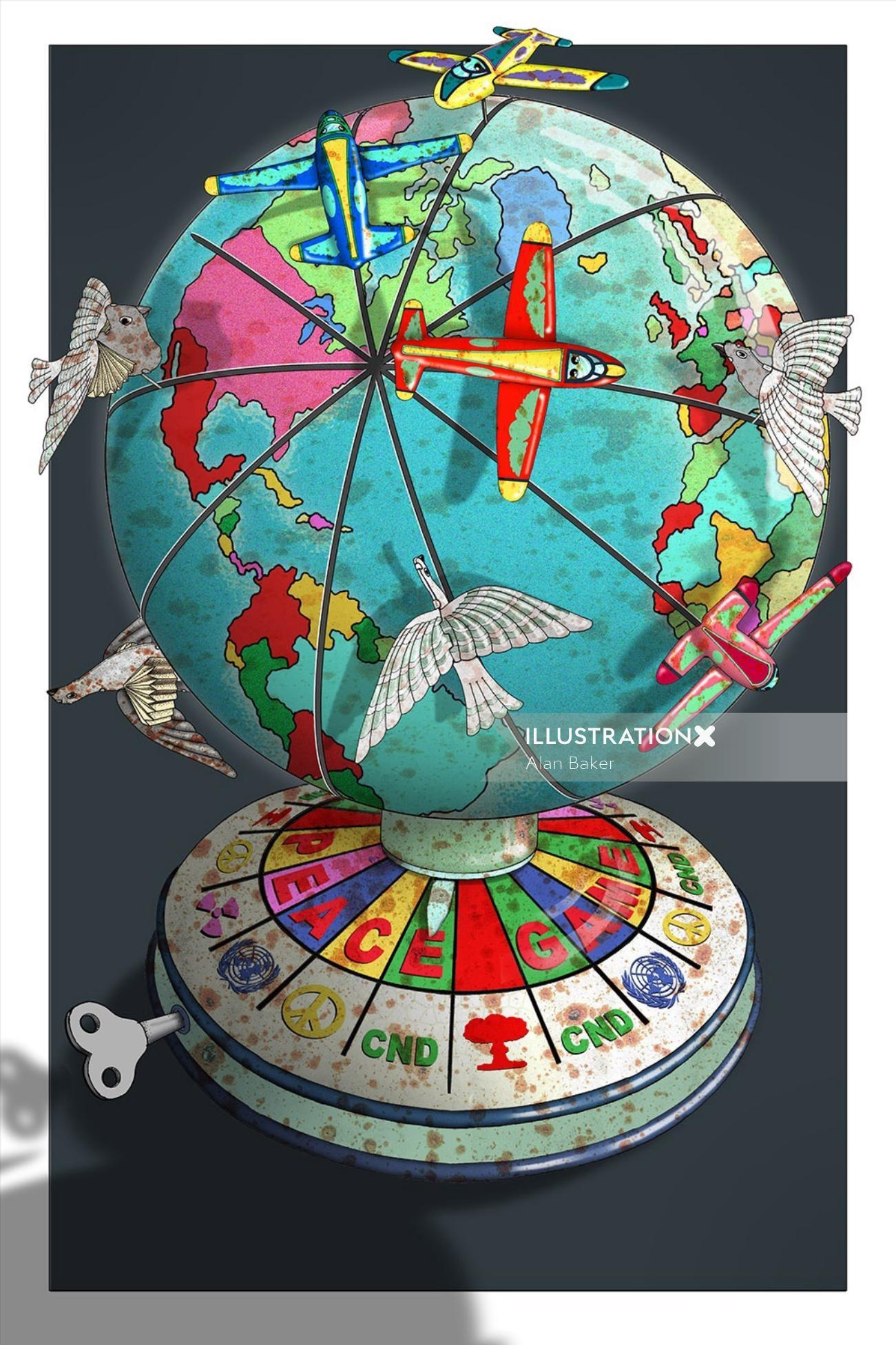 Illustration of aeroplanes on globe