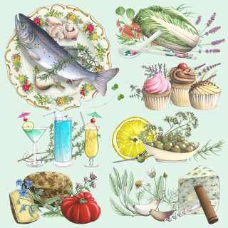 Food and Drinks illustration by Alan Baker