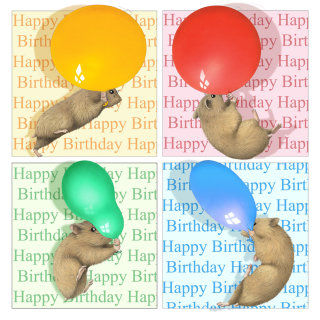 Syrian Hamsters holding balloon illustration