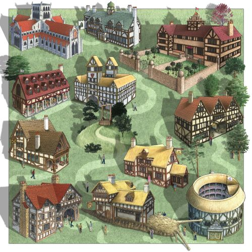 Buildings and houses - An illustration by Alan Baker