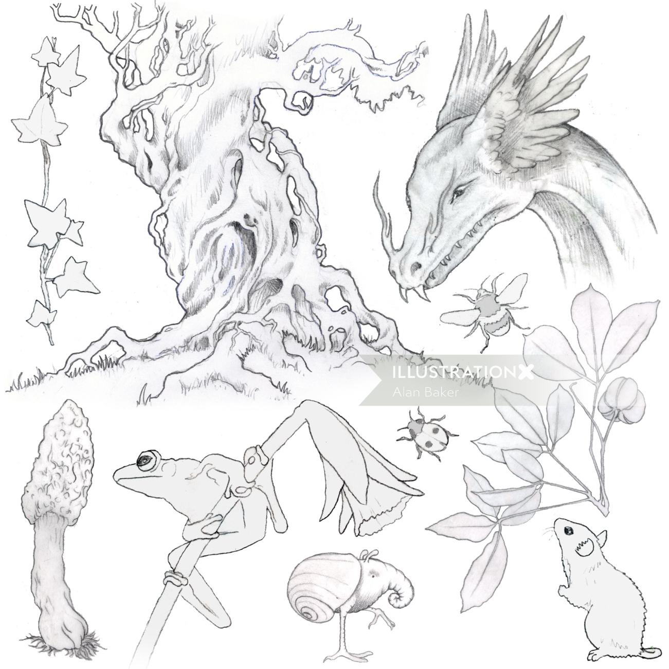 Pencil drawing of forest animals