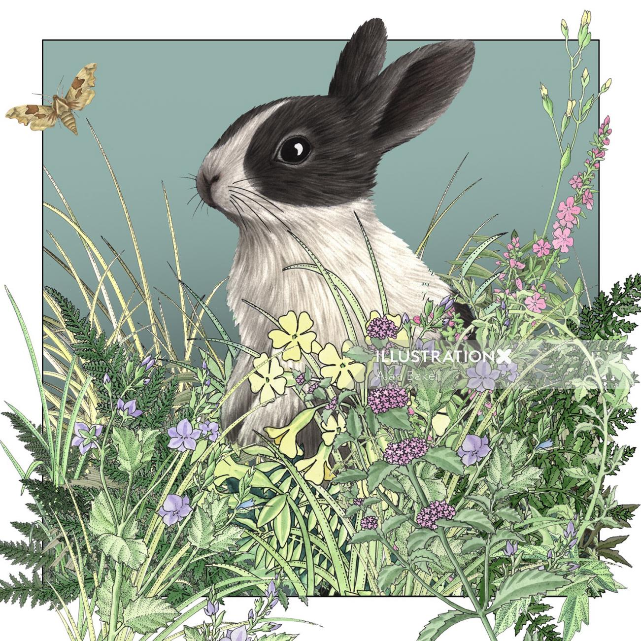 Illustration of Rabbit in the plants