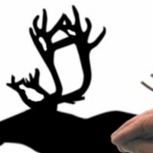 Hand puppet shadows -  An illustration by Alan Baker