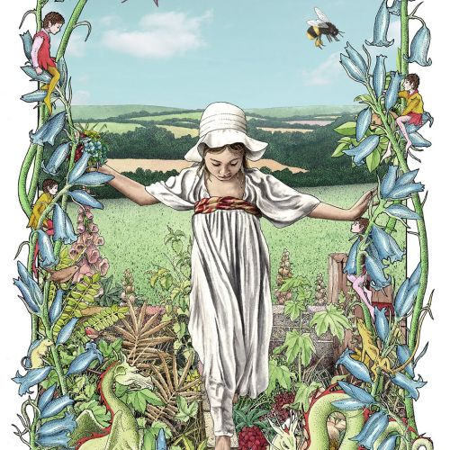 Girl in a garden - An illustration by Alan Baker