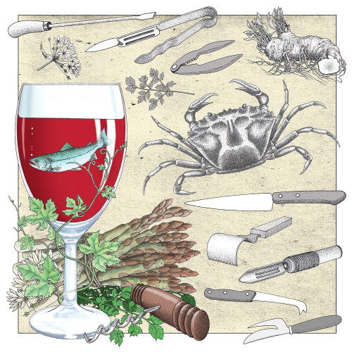 Illustration de vin et fruits de mer par Alan Baker
