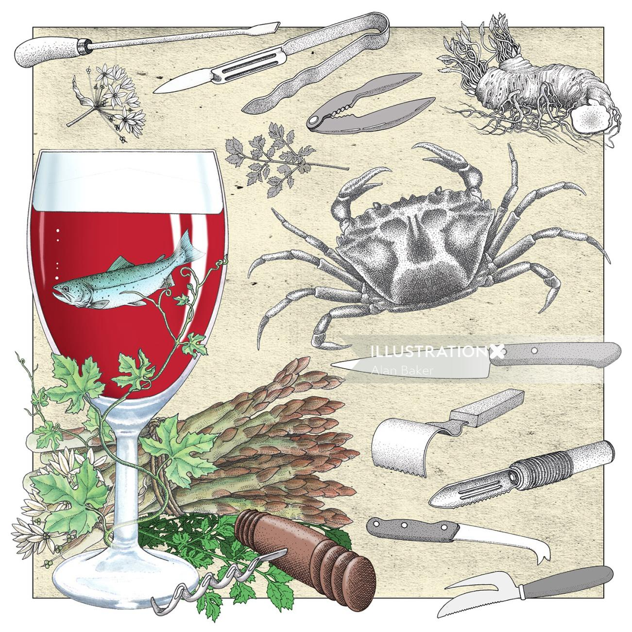 Wine and Seafood illustration by Alan Baker