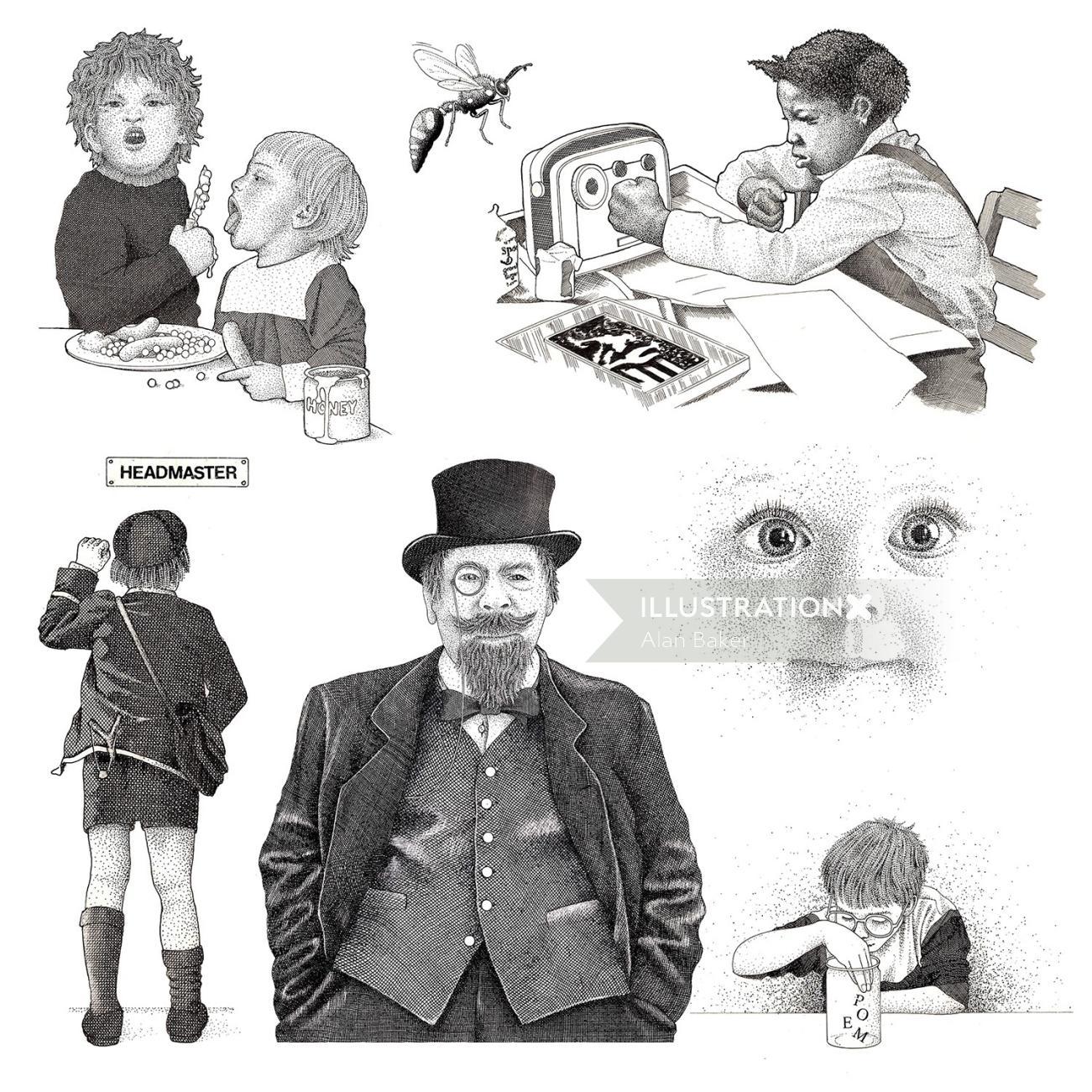 children in black and white
