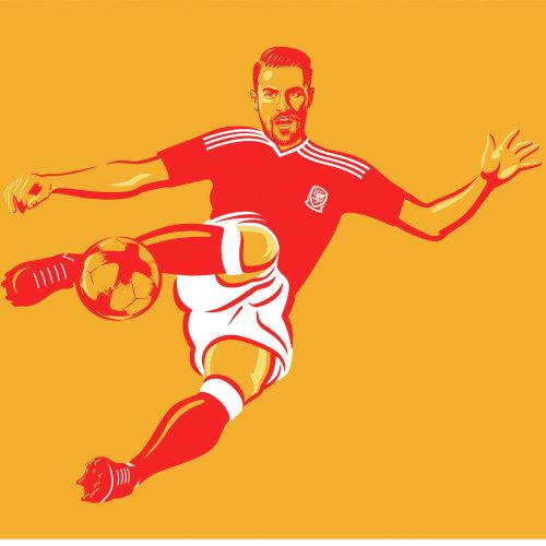 一名足球运动员的插图