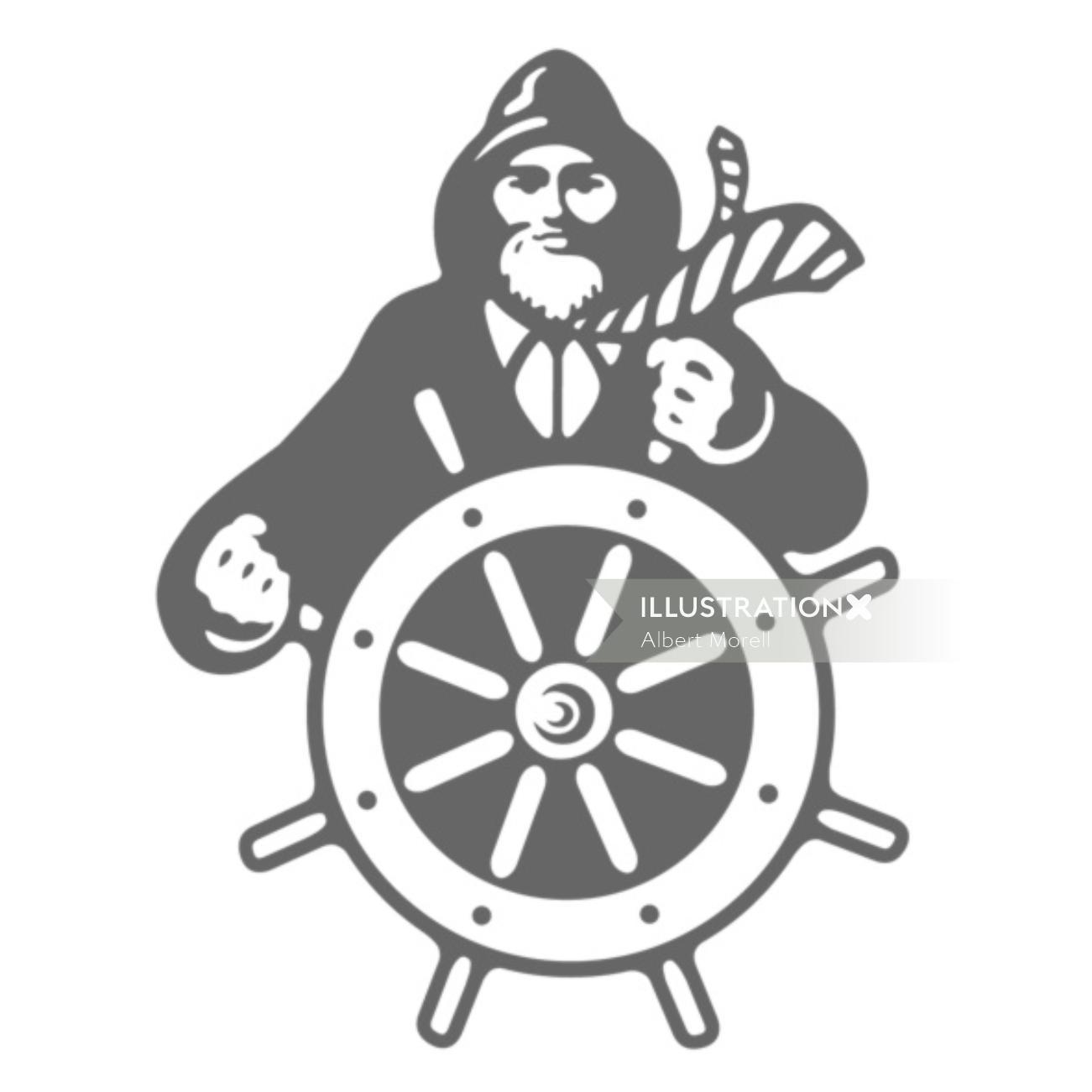 Ship wheel Logo Illustration