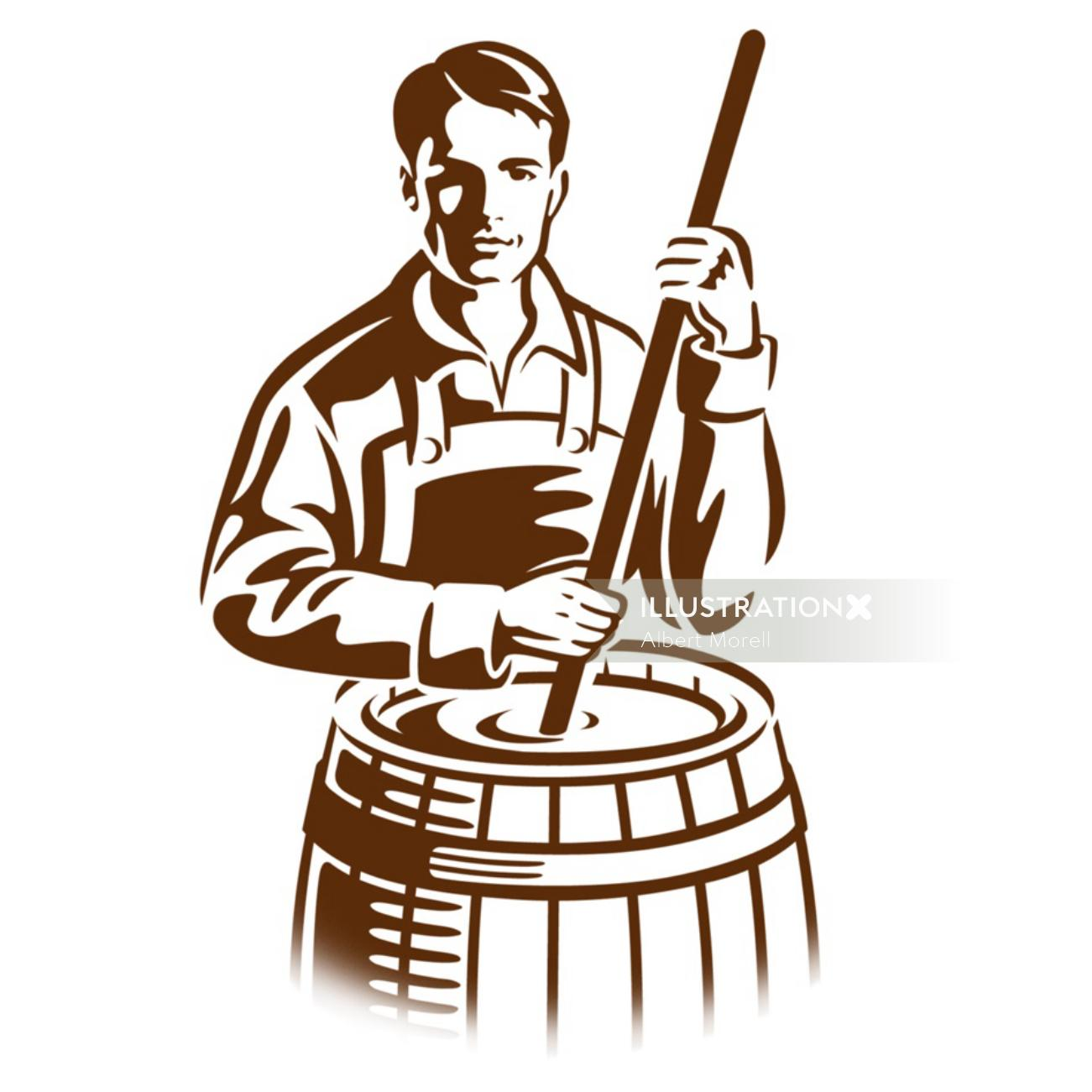 Illustration of traditional brewer