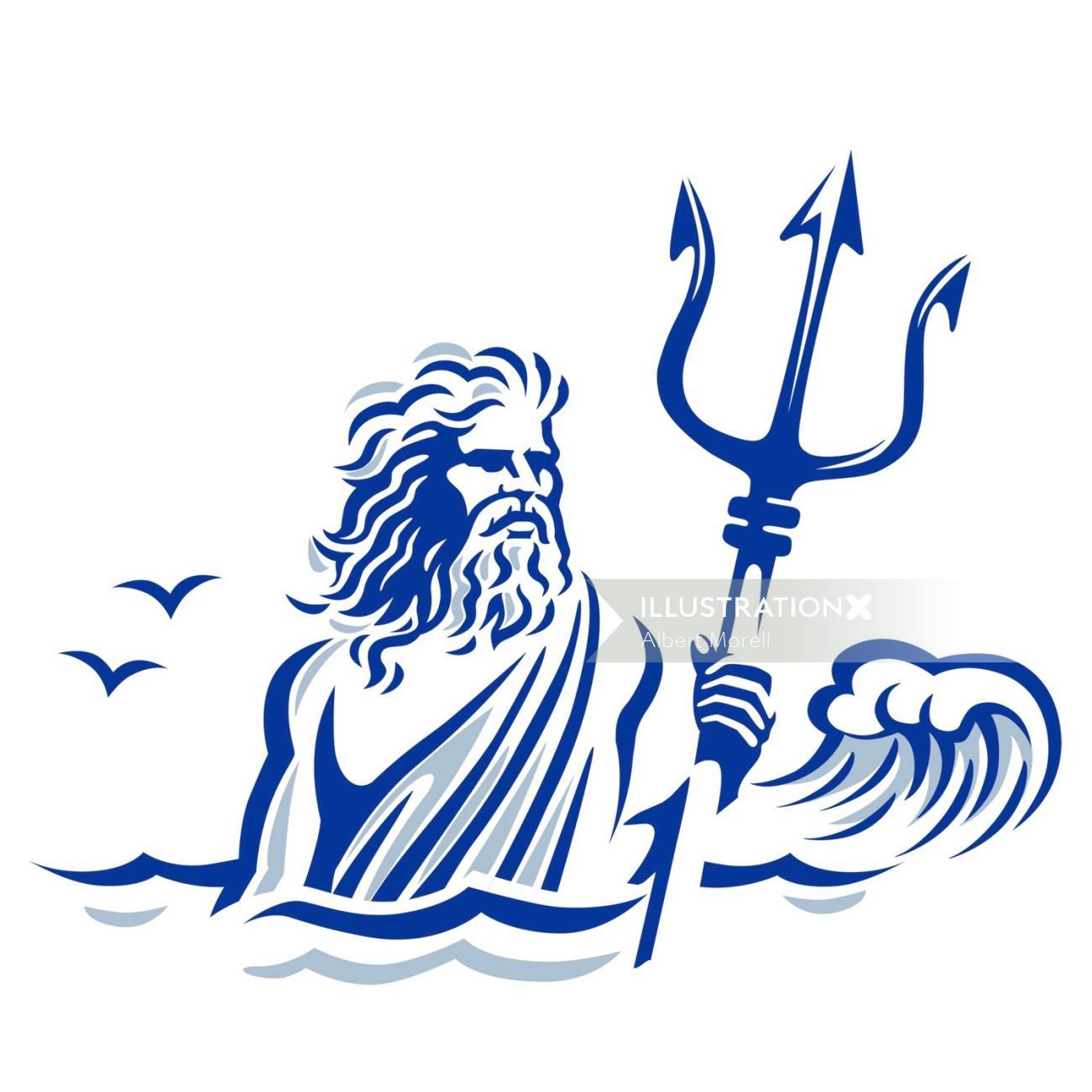 Vector art of Neptune logo for food brand