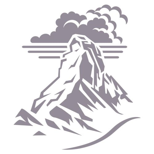Alpine mountain peak with clouds