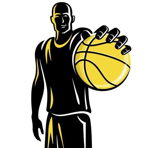 Black and yellow Basketball player