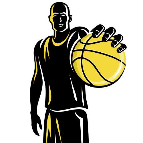 黑色和黄色的篮球运动员