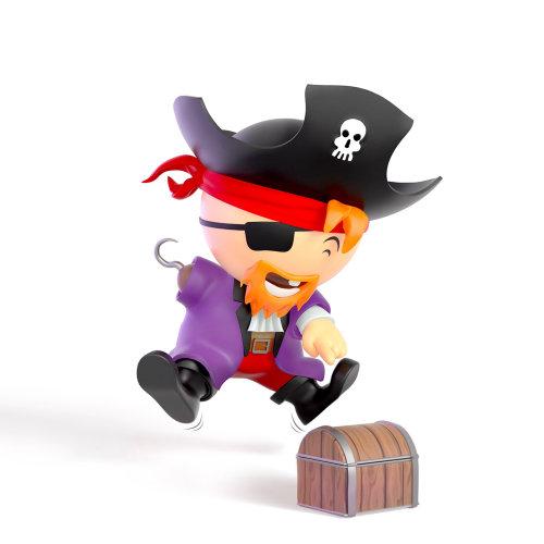Personaje de dibujos animados en 3D del pequeño pirata