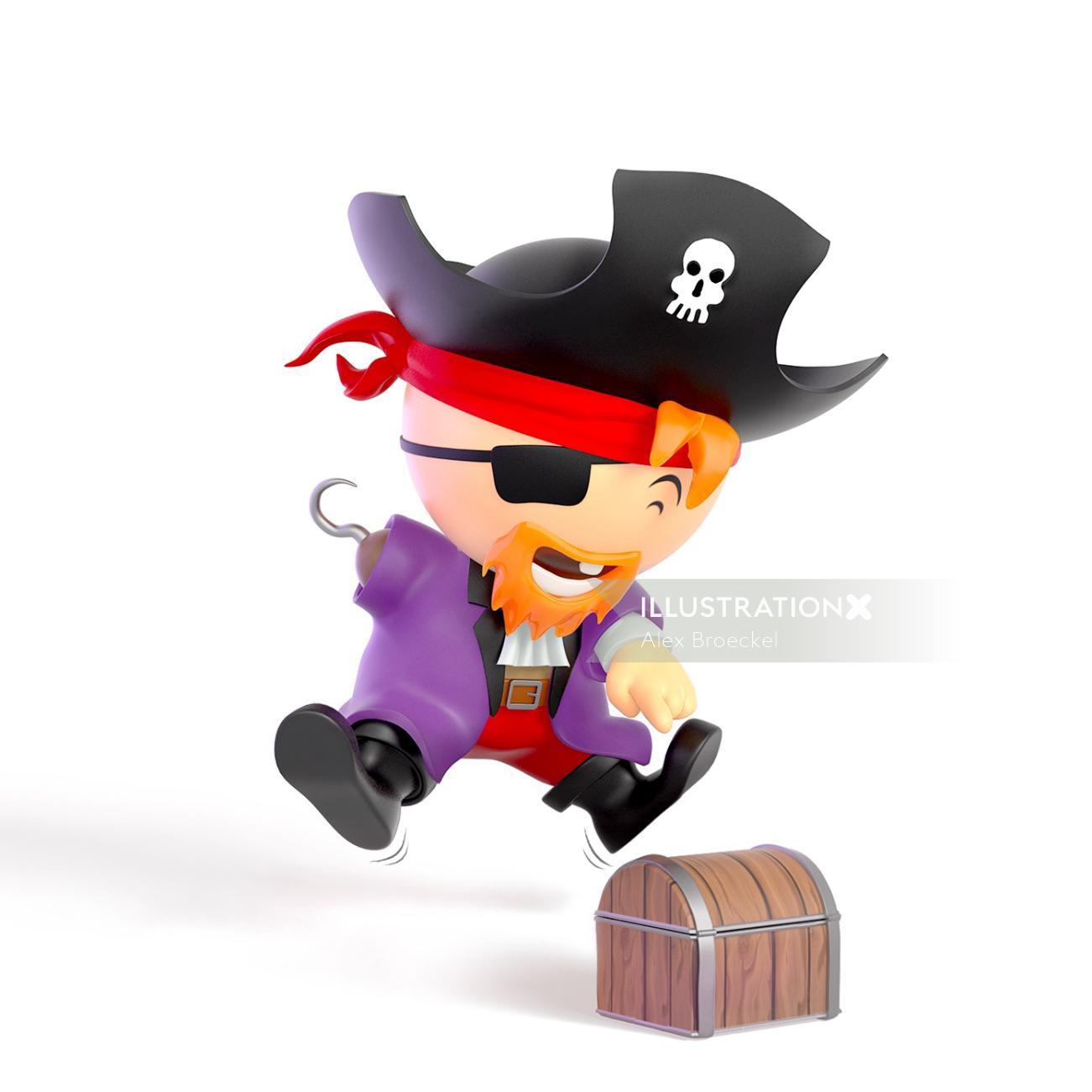 3D cartoon character of little pirate