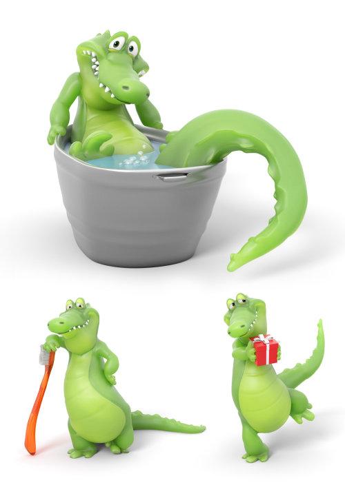 Representación 3D de cocodrilo divertido