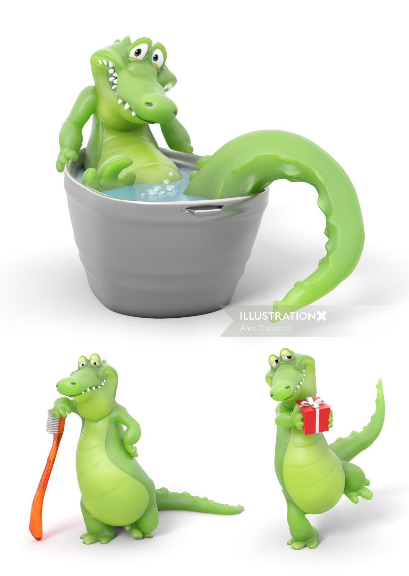 3D rendering of fun crocodile