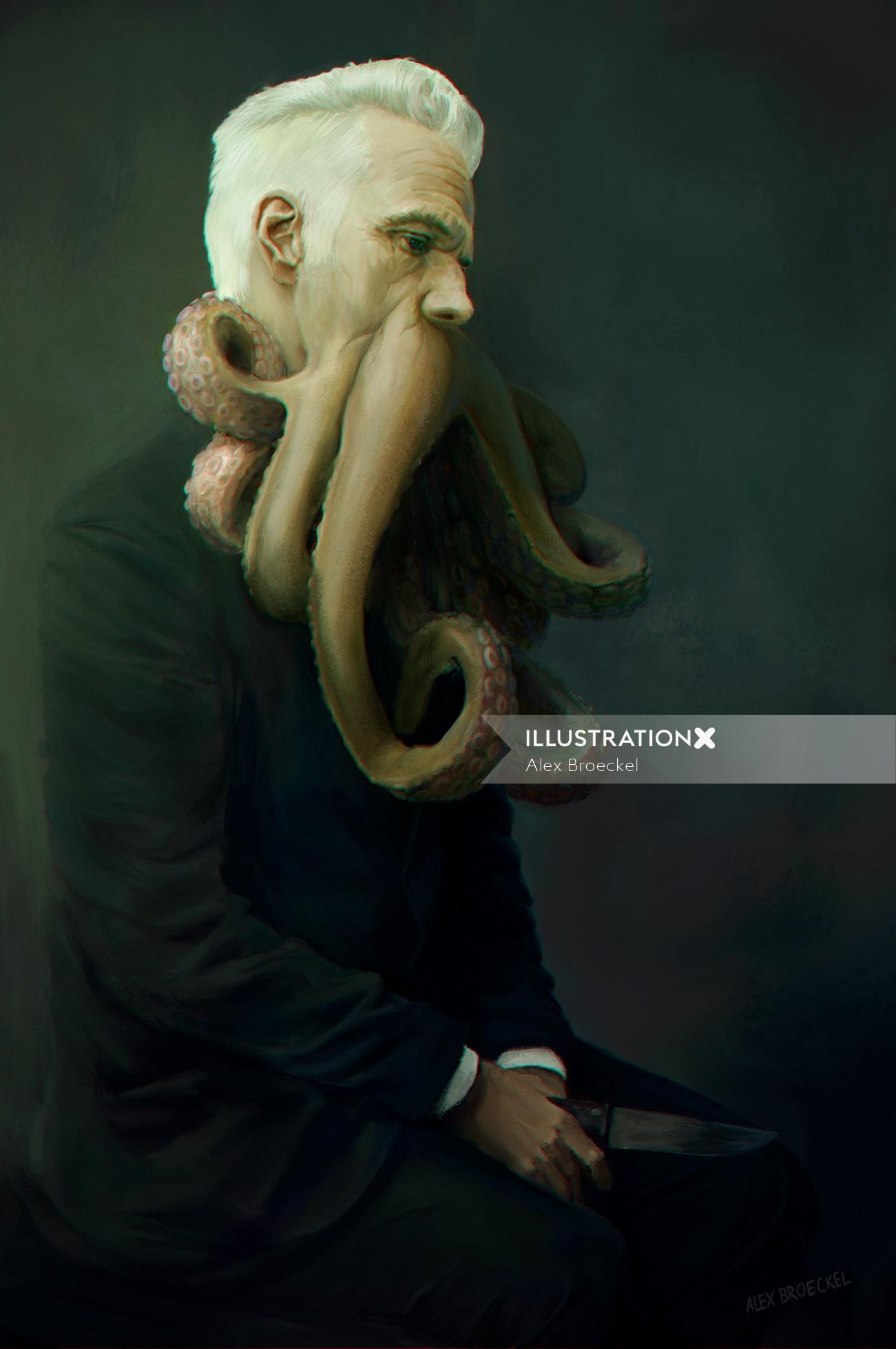 Digital Painting of Octoman