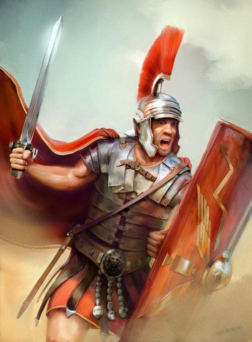 Ilustración de fantasía del soldado romano