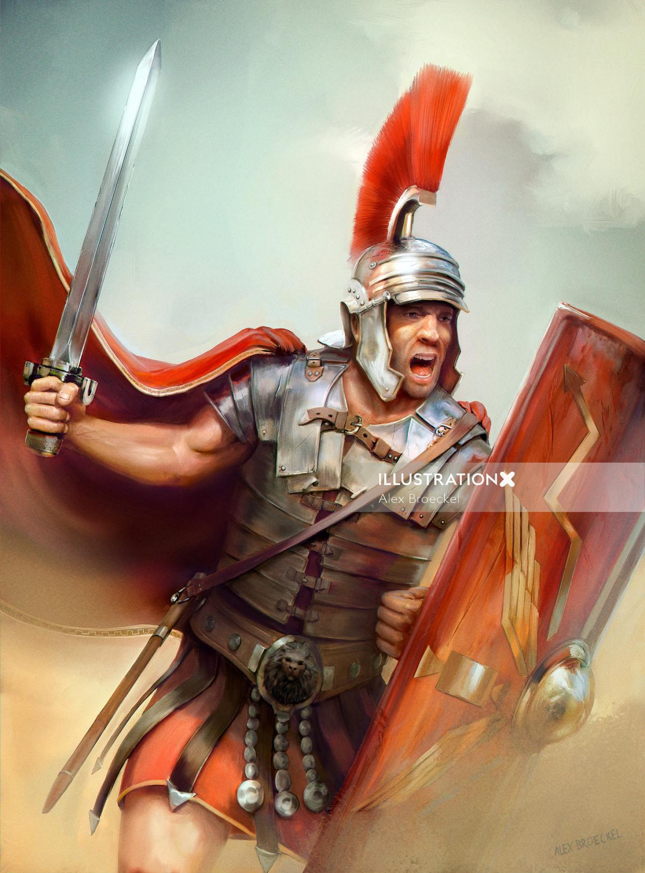 Fantasy Illustration Of Roman Soldier